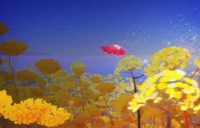 唯美3D动画二维水墨画风动感背景视频素材