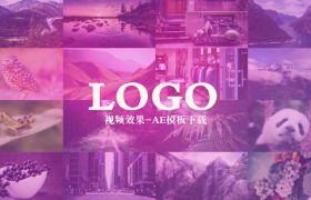 明亮现代旅游风景logo片头多彩图片展示动画模板
