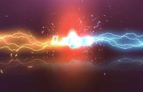 明亮闪电光线碰撞霓虹logo片头动画模板