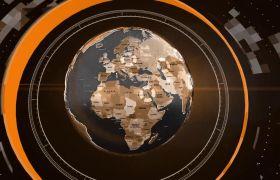精巧全球地球仪视角消息字幕条图文展现模板