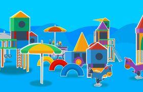 儿童欢乐游乐场平面卡通动画背景视频