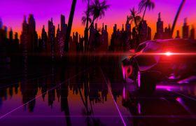 复古未来风格炫酷汽车行驶动画视频