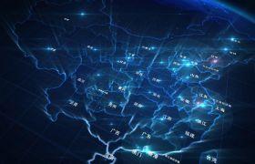 酷炫宇宙蓝色流星中国地图城市名字背景视频素材