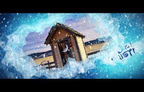 梦幻城堡冰雪花效果迪士尼动画圣诞节气氛模板