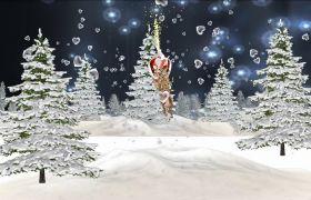 唯美圣诞之夜圣诞老人动画圣诞节led背景视频素材
