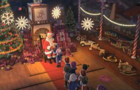 温馨欢乐圣诞老人送圣诞礼物背景视频素材