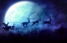 美好圣诞节小鹿奔跑圣诞老人送礼物背景视频素材