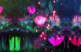 唯美花朵绽放水彩荷花粒子LED舞台背景视频素材