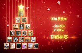 唯美圣诞树照片雪花粒子开场片头模板