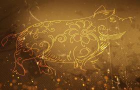 大气发光粒子金猪贺福新年大吉开场模板