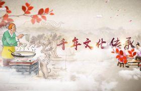 千年文化传承大气中国风美食栏目片头模板