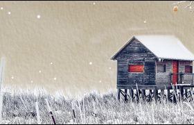 冬天雪地飘雪小屋LED动画背景视频