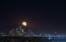 明亮皎洁城市上空中秋赏月夜景高清实拍视频素材