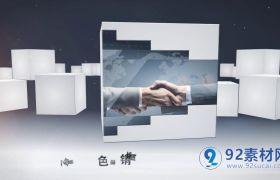 动感三维方块旋转动画企业商务图文宣传模板