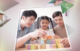 温馨简约明亮三维空间堆叠效果家庭相册照片墙展示AE素材