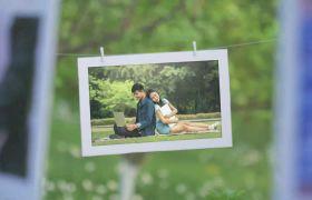 唯美清新实拍背景婚礼开场相册照片展示AE素材