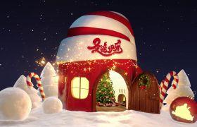 精美卡通三维空间雪花粒子特效圣诞节祝福动画AE素材