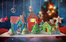 歡樂卡通3D圣誕賀卡卡片彈出片頭動畫模板
