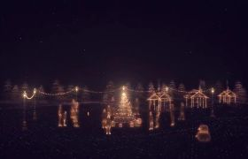 唯美金色魔法粒子绘画圣诞祝福庆典片头模板