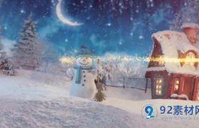梦幻卡通雪人圣诞节节日祝福片头动画模板