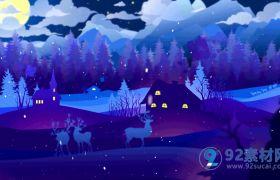 清新蓝色冬日夜晚圣诞祝福动画图文片头模板
