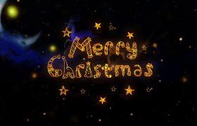 炫酷金色粒子汇聚飘散特效圣诞节祝福问候AE素材