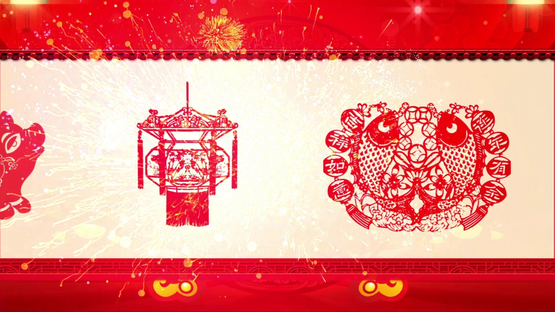 2019猪年喜庆中国风剪纸窗花滚动新年视频素材