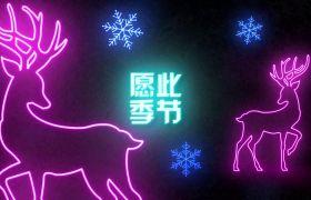 可爱卡通霓虹闪烁圣诞节文字动画祝福问候AE素材