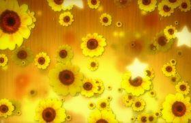欢快向日葵星光卡通动态背景视频