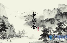 中国风山水飞鸟国画文字logo片头模板