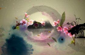 典雅中国古风多彩水墨画高清视频素材