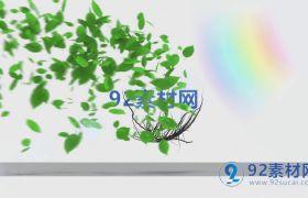 ?清新樹葉生長飄落揭示logo標志模板