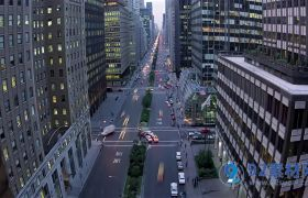 俯瞰繁华城市中心街景高清实拍视频素材