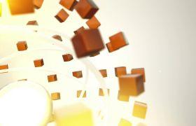 科技感方块环绕小球旋转运动背景视频