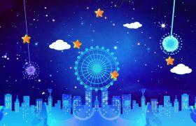 蓝色梦幻星空摩天轮木马儿童卡通动画背景视频