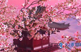唯美动态粉色桃花意境led背景视频素材