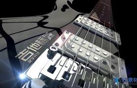 黑色三维吉他展现文子标题动画开场模板