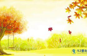 金色动态秋天落叶无限循环背景视频素材