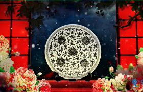 中國風唯美大氣牡丹意境背景視頻素材