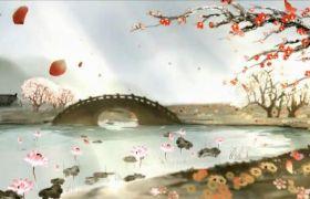 中国风古典山水墨画荷塘拱桥梅花视频素材