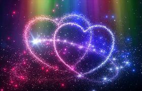 彩色浪漫炫丽光束描绘爱心led视频素材