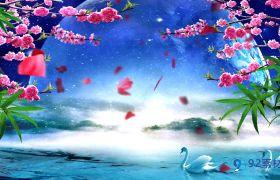 大气唯美水上玻璃月色led舞台背景视频素材