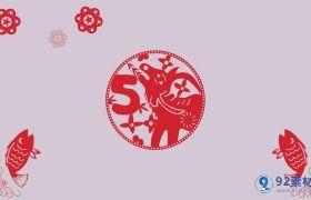 中国风新春元旦十二生肖剪纸倒计时视频素材