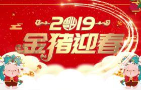喜庆大气粒子光束穿梭烫金字体金猪迎春2019新年拜年祝福AE素材
