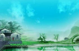 中国风烟雨江南水乡背景视频素材