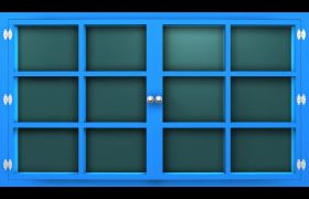 立体感蓝色窗户关闭打开通道视频素材