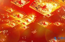 红色喜庆春字金扇子动态背景视频素材