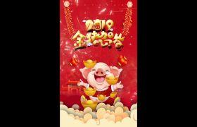 2019喜庆猪年贺岁竖屏拜年小视频卡通动画模板