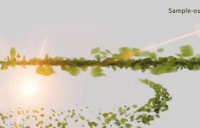 绿色树叶聚集环绕散开显示logo动画模板