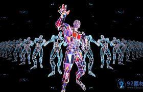 炫酷动感水晶机器人舞蹈视频素材